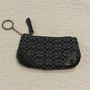 Coach navy blue canvas monogram keychain wallet